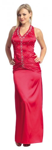 Red Formal Gown Rhinestone Halter Red Prom Dresses Red Pageant Gown   DiscountDressShop.com 2137NX