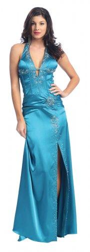 Teal Prom Dress Halter Satin Teal Formal Pageant Dress Teal Party   DiscountDressShop.com 2139NX
