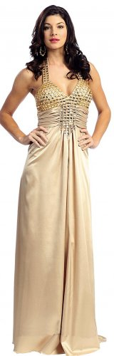 Sexy Gold Prom Dress satin Halter Empire Waist Rhinestones Gold Gown | DiscountDressShop.com 2143NX