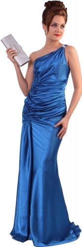 Cheap One Shoulder Blue Prom Dress Blue Formal Dress Rhinestone | DiscountDressShop.com 5057CD