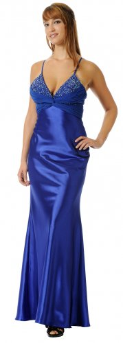 Satin Royal Blue Pageant Dress Royal Blue Formal Dress 2 Straps | DiscountDressShop.com 5644PO