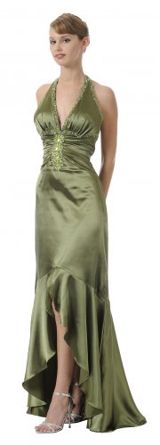 Long Halter Olive Prom Gown Olive Pageant Gown Dress With Open Slit | DiscountDressShop.com 5716PO