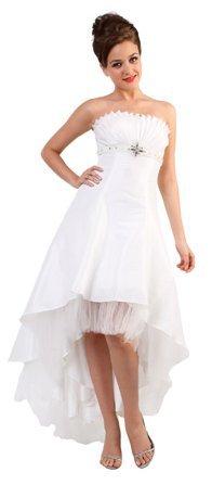 White Prom Strapless Chiffon Tea Length Dress Wedding Gown White | DiscountDressShop.com 8028CD