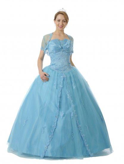 Satin Turquoise Quinceanera Dress Bolero Princess With Bolero Jacket | DiscountDressShop.com 5722QPO