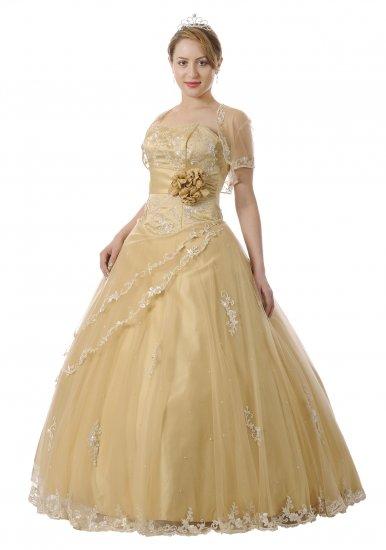 Gold Quinceanera Dress Bolero Jacket Satin Strapless Princess Dress | DiscountDressShop.com 5724QPO