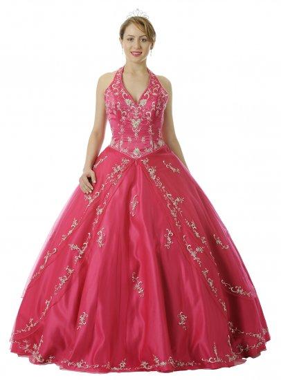 Fuchsia Quinceanera Dress Satin Halter Fuchsia Princess Dress Gown | DiscountDressShop.com 5726QPO