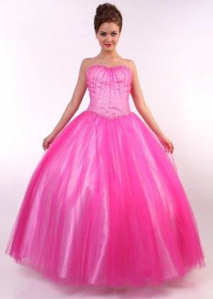 Hot Pink Princess Gown Hot Pink Quinceanera Dresses Pink Strapless   DiscountDressShop.com C55CD