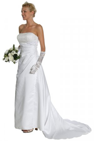Cheap White Wedding Gown Strapless Sequin Top and Back Train White | DiscountDressShop.com 1066JU