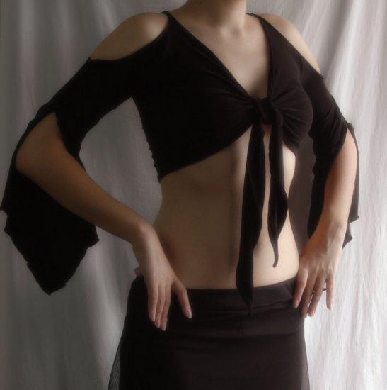 Black Tie Top With Open Shoulders