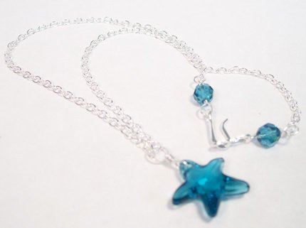 Indicolite Crystal Starfish Necklace with sterling silver chain Beach jewelry