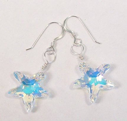 Crystal AB Single Starfish Earrings with Sterling Silver French Hooks