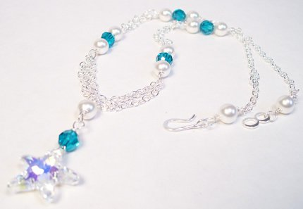 Halia Starfish Necklace in Sterling Silver White Pearls Clear AB Starfish and Blue Zircon crystals