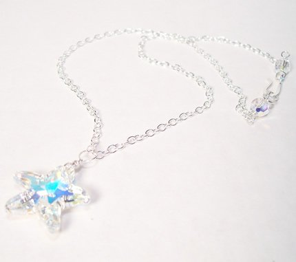 Clear AB Crystal Starifsh necklace with Sterling Silver Chain