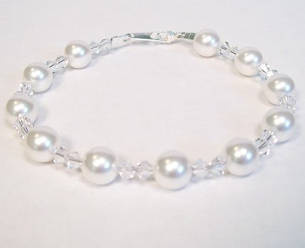 White Pearl and Crystal Clear Crystal Wedding Jewelry Bracelet