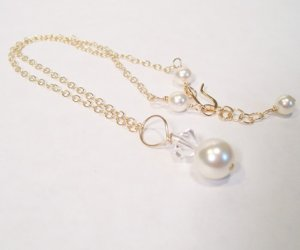 Ivory Pearl and Clear Crystal Pendant Necklace with Gold Filled Chain - Wedding Necklace
