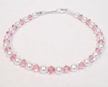White Pearl and Light Rose Little Flower Girl Bracelet