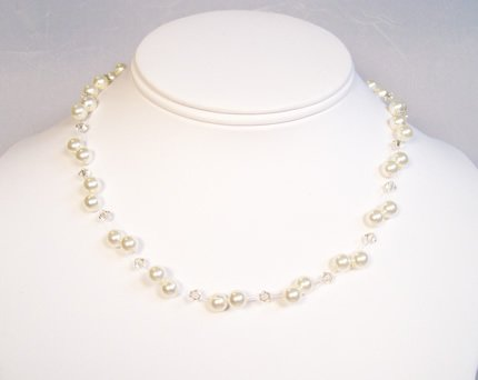 Ivory Pearl and Ceylon Topaz Crystal Illusion Floating Necklace