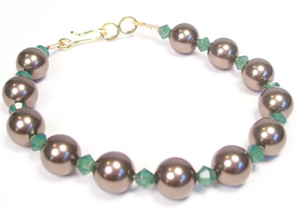 Palace Green Opal and Brown Pearl Single Strand Bracelet - Gold Hook and Eye Clasp