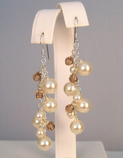 Cassidy Pearl and Crystal Cluster Chandelier Style Earrings