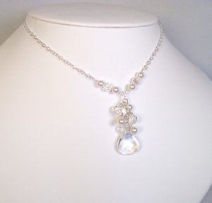 Briolette Pearl & Crystal Cluster Necklace