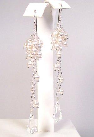 Pearl Cluster Earrings with Tear Drop Bottom - Sterling Silver