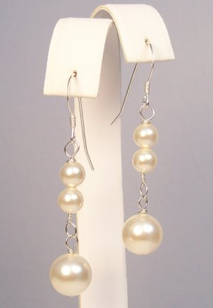 Pearl Drop Earrings - Sterling Silver - Wedding Bridal jewelry Earrings