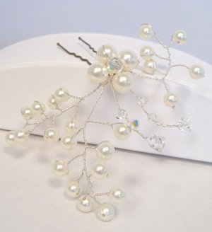 Floral Wedding Hairpin with Sterling Silver Wire - Ivory Pearls - Crystal AB Crystals