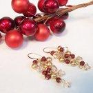 Pearl and Crystal Cluster Drop Earrings