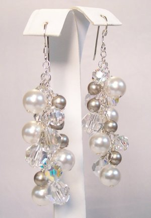 Harlow Crystal and Pearl Cluster Earrings