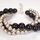 Twisted Swarovski Pearl Bracelet in Mystic Black and Platinum Pearls