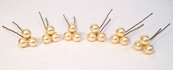6 triple pearl hairpins with gold pearls