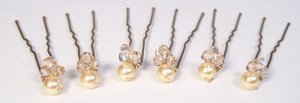 6 Gold Pearl and Golden Shadow Hairpins