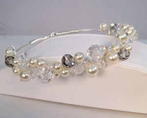 Carlie Pearl and Crystal Tiara in Sterling Silver