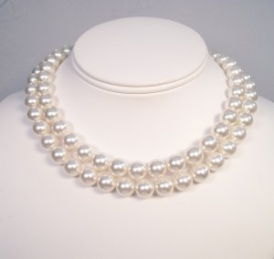 Double Strand Chunky White Pearl Wedding Necklace