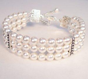 White PearlTriple Strand Swarovski Cuff Wedding Jewelry Bracelet
