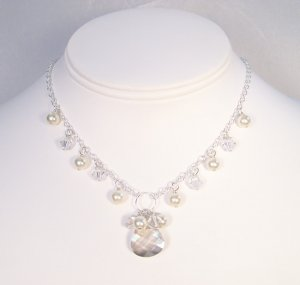 Natalie Teardrop Necklace with Pearl and Crystals - Sterling Silver