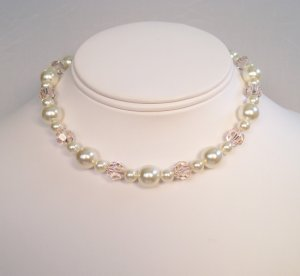 Camelot Ivory Cream Pearl Necklace with Silky Peach Crystals - Wedding Necklace - Chunky Necklace