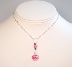 Pink Flower Crystal Pendant Necklace