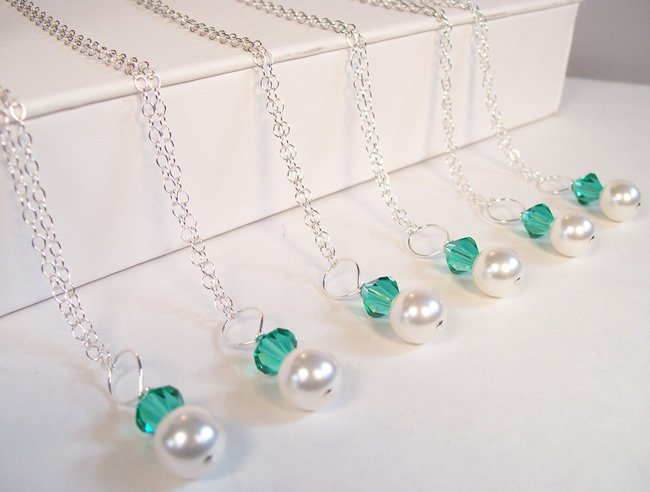 White Pearl and Light Emerald Crystal Pendant Bridesmaids Necklace