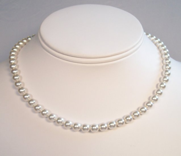Single Strand White Pearl Necklace - 30 Pearl Color Options Available