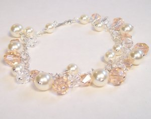 Chloe Pearl and Crystal Bracelet in Ivory cream and Light Peach