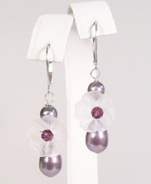 Purple Peony Flower Earrings, Bridal and Bridesmaid Earrings