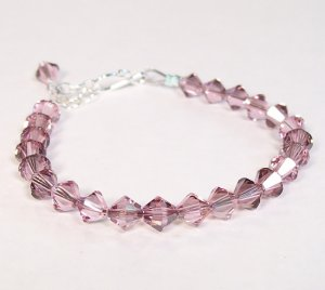 Pink Single Strand Crystal Bridesmaid Bracelet, Sterling Silver, Adjustable