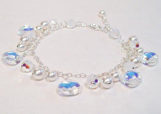 Teardrop Cluster Bridal Bracelet - White Pearls - Wedding Jewelry