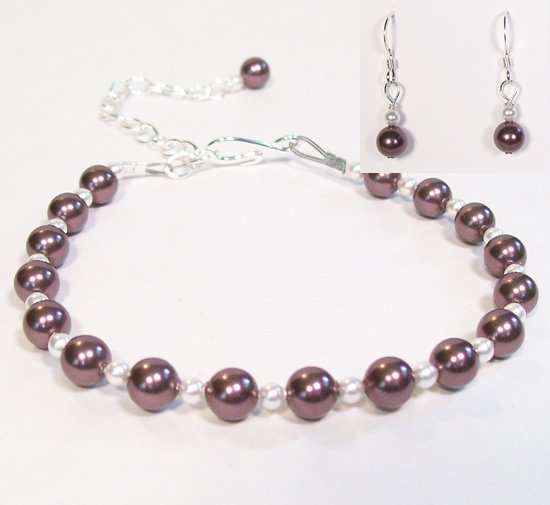 Burgundy and White Pearl Jewelry Set - Bracelet and Earrings - Weddings - Bridesmaids