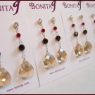 Champagne Teardrop Earrings with Red and Brown Crystals - Gold Filled - CZ Posts