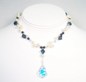 Payton Illusion Necklace in Navy Blue and Light Blue - Bridesmaid Necklace