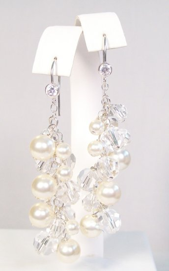 Harlow Pearl Cluster Earrings with CZ French Hooks - Bridal Earrings Pearl and Crystal