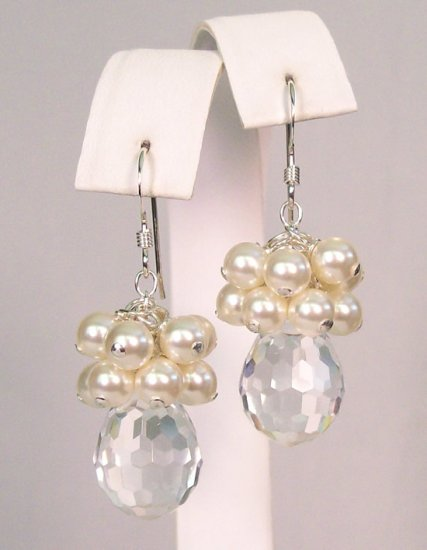 Dilynn Crystal Teardrop Pearl Cluster Earrings - Wedding Earrings - Sterling Silver