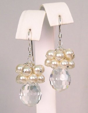 Dilynn Crystal Teardrop Pearl Cluster Earrings - Wedding Earrings - Sterling Silver